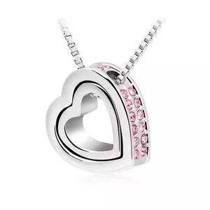 (Last 3)Heart in heart necklace,Swarovski elements